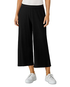 Eileen Fisher - Ribbed Knit Cropped Wide Leg Pants