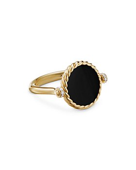 David Yurman - 18K Yellow Gold DY Elements® Black Onyx, Mother-of-Pearl & Diamond Swivel Ring