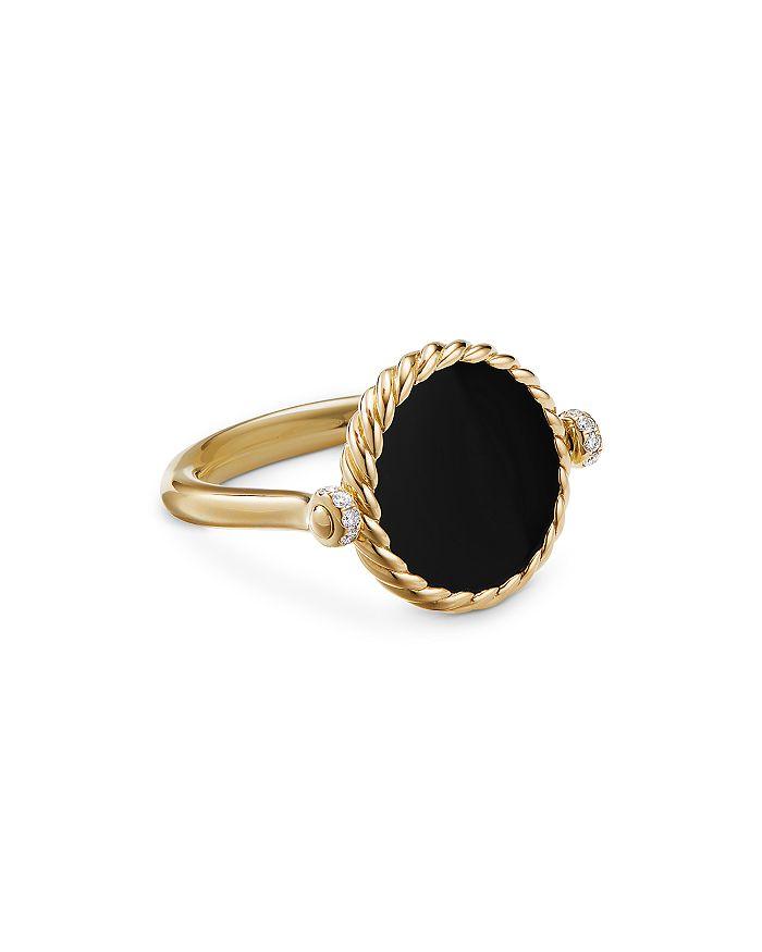 David Yurman - 18K Yellow Gold DY Elements® Black Onyx, Mother-of-Pearl & Diamond Swivel Ring