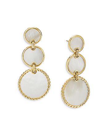 David Yurman - 18K Yellow Gold DY Elements® Triple Drop Earrings with Mother-of-Pearl