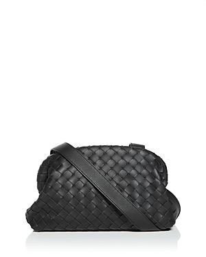 Bottega Veneta Woven Leather Crossbody In Black/silver