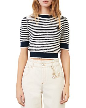 Maje - Marinella Striped Cropped Sweater