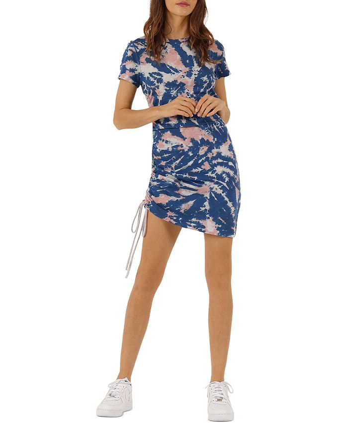 Pam & Gela TIE DYE RUCHED MINI DRESS