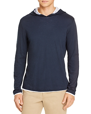 Vince Cottons SLIM FIT LAYERED PIMA HOODIE