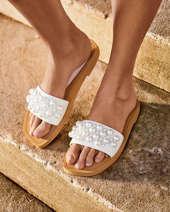 STUART WEITZMAN Slides WOMEN'S GOLDIE EMBELLISHED SLIDE SANDALS