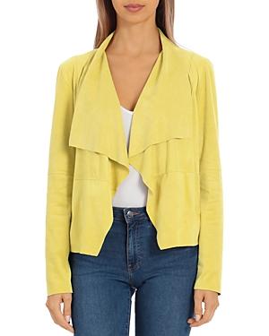 Faux-Suede Drape-Front Jacket