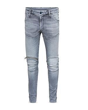 5620 3D Knee-Zip Skinny Jeans in Sun Faded Glacier Gray