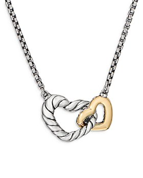 """David Yurman - Sterling Silver & 18K Yellow Gold Cable Collectibles® Double Heart Necklace, 18"""""""