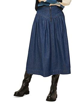 Whistles - Denim Pleated Midi Skirt