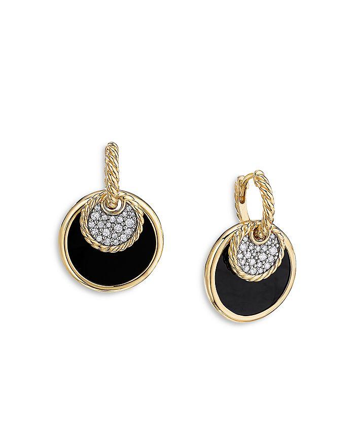 David Yurman - 18K Yellow Gold DY Elements® Convertible Drop Earrings with Black Onyx, Mother of Pearl & Diamonds