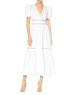 Lace Inset Poplin Midi Dress