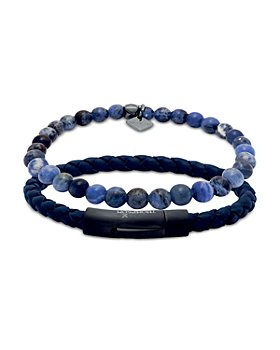 THOMPSON OF LONDON - Sodalite Bead & Woven Leather Bracelet Set, Medium