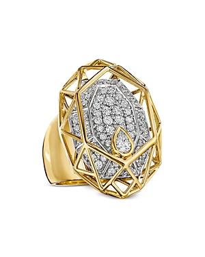 Hueb 18K Yellow & White Gold Estelar Diamond Cluster Statement Ring