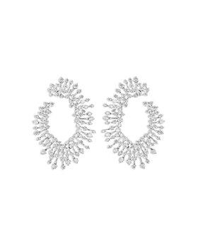 HUEB - 18K White Gold Luminus Diamond Circle Front to Back Earrings
