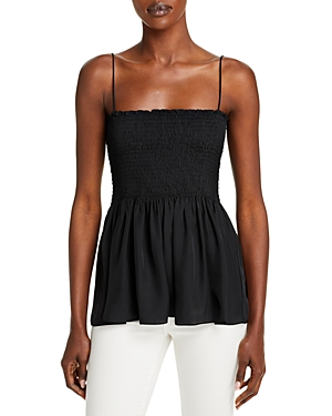 Theory Smocked Bustier Spaghetti Strap Top