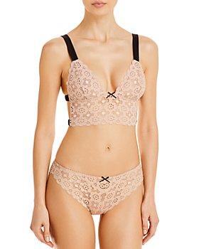 Fleur du Mal - Crochet Lace Longline Bra & Cheeky Panty