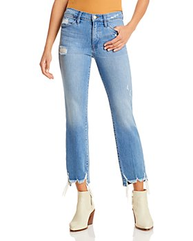 FRAME - Le High Straight Ankle Jeans in Laskey Rips
