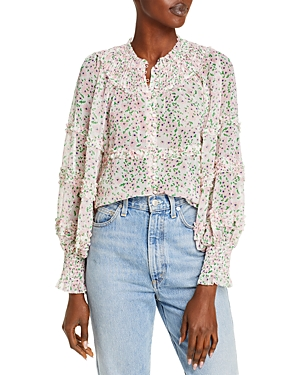 Alice and Olivia Margery Tiered Ruffle Button Front Blouse