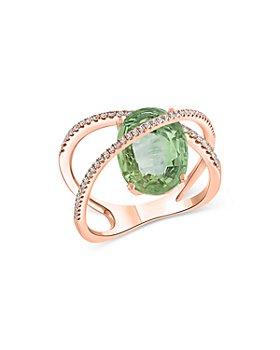Bloomingdale's - Prasiolite & Diamond Crisscross Ring in 14K Rose Gold - 100% Exclusive