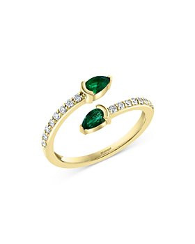 Bloomingdale's - Emerald & Diamond Bypass Ring in 14K Yellow Gold - 100% Exclusive