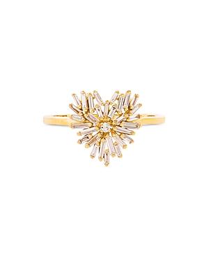 Suzanne Kalan 18K Yellow Gold Fireworks Diamond Baguette Heart Cluster Ring