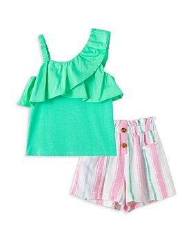 Habitual Kids - Girls' One Shoulder Top & Striped Shorts Set - Little Kid
