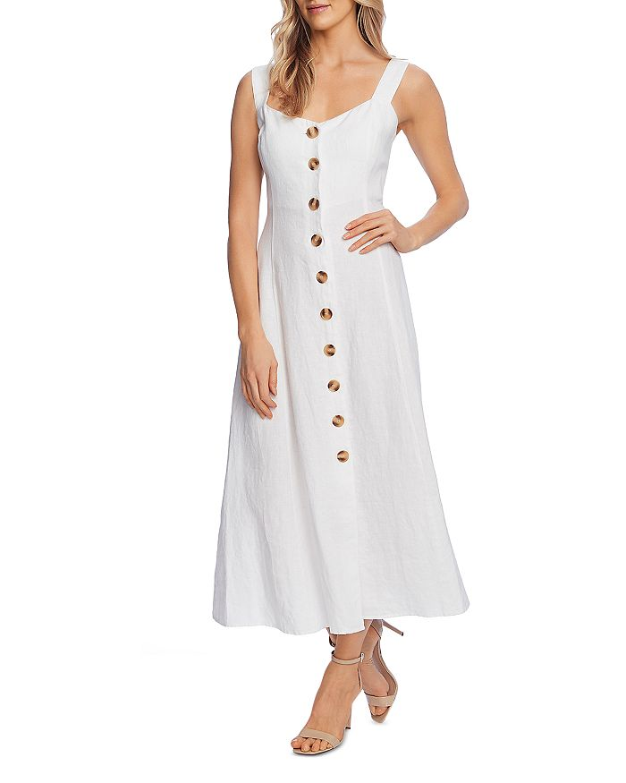 VINCE CAMUTO - Button Front Sleeveless Midi Dress
