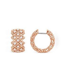 Roberto Coin - 18K Rose Gold Roman Barocco Diamond Huggie Earrings