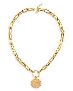 """Maison Irem - 18K Gold-Plated Elijah Coin Pendant Necklace, 16""""-18"""""""