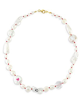 Maison Irem - Funny Pearl Quartz & Cultured Freshwater Pearl Collar Necklace, 17""
