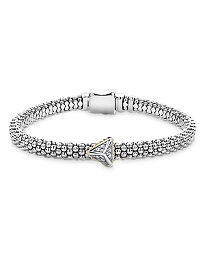 Lagos Ksl 18K Yellow Gold, Sterling Silver and Diamond Pyramid Caviar Beaded Bracelet