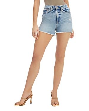 Good American Cut Off Denim Shorts in Blue685