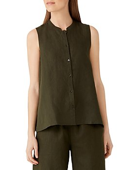 Eileen Fisher - Sleeveless Organic Linen Button Front Shirt