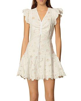 Sandro - Embroidered Mesh Detail Dress