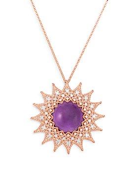 "Roberto Coin - 18K Rose Gold Roman Barocco Diamond & Amethyst Starburst Pendant Necklace, 28"""