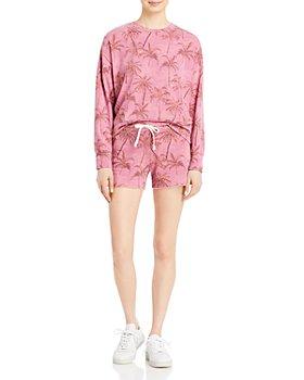 Sundry - Palm Print Sweatshirt & Pull On Shorts