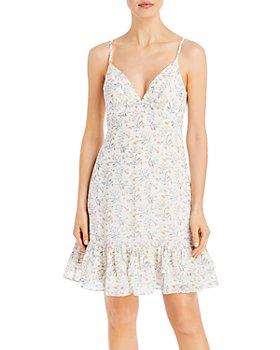 AQUA - Floral Print Ruffled Mini Dress - 100% Exclusive