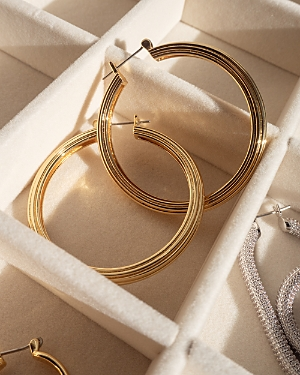 Cher Extra Large Ridged Hoop Earrings in Gold Tone