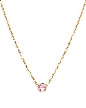 Zoe Lev 14K Yellow Gold Rose Zircon Birthstone Solitaire Pendant Necklace, 16-18
