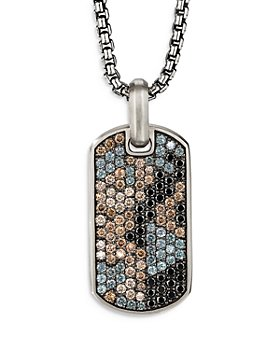 David Yurman - Streamline® Sterling Silver Tag Pendant with Pavé Black Diamonds, Cognac Diamonds and Color Change Garnets