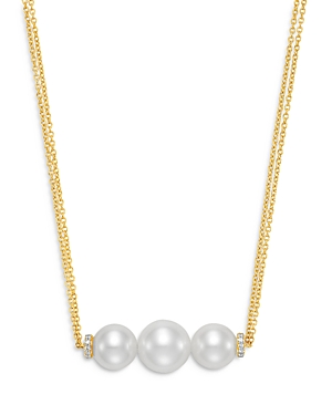 18K Yellow Gold Cultured Freshwater Pearl and Diamond Double Chain Necklace
