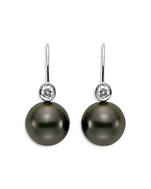 18K White Gold Cultured Black Tahitian Pearl and Diamond Earrings
