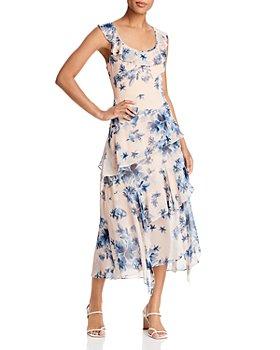 BCBGMAXAZRIA - Floral Print Tiered Midi Dress