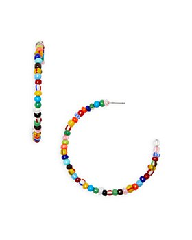 AQUA - Multicolor Beaded C Hoop Earrings in Gold Tone - 100% Exclusive