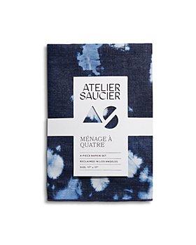 ATELIER SAUCIER - Denim Tie Dyed Linen Napkins, Set of 4