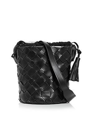 Usim Woven Leather Bucket Bag
