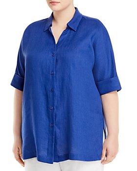 Marina Rinaldi - Basilica Short-Sleeve Linen Shirt