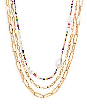 "AQUA - Triple Strand Chain & Bead Necklace, 17"" - 100% Exclusive"