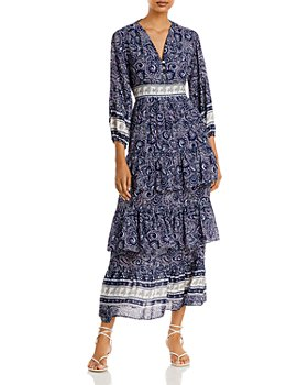 AQUA - Ruffled Tiered Midi Dress - 100% Exclusive