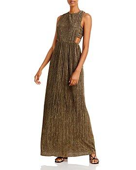 BCBGMAXAZRIA - Pleated Metallic Evening Gown